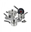 Deals List: T-fal® Excite 14-pc. Stainless Steel Nonstick Cookware Set