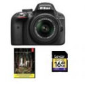 Deals List:  Nikon D3300 24.2 MP Digital SLR Camera with 18-55mm VR II Lens (Black) Factory Refurbished + Adobe Photoshop Lightroom 5 + 16GB Memory Card