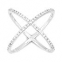 """Deals List: Sterling Silver Pave CZ """"X"""" Criss Cross Long Ring"""