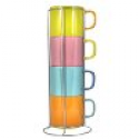 Deals List: Francois et Mimi Stacking Coffee Mugs Set with Rack, Multi-Colored, 12oz Cups