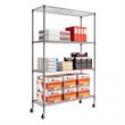 Deals List: Alera Complete Wire Shelving Unit w/Caster, 4-Shelf, 48w x 18d x 72h, Black