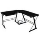 Deals List: Walker Edison Soreno 3-Piece Corner Desk, Black with Black Glass
