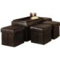 Deals List: Convenience Concepts 143008 Designs-4-Comfort Manhattan Storage Bench with 4 Collapsible Ottomans