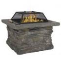 "Deals List: Elegant 29"" Outdoor Patio Firepit w/ Iron Fire Bowl, Stone Base, & Mesh Cover"