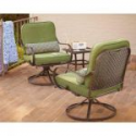 Deals List: Hampton Bay Fall River 3-Piece Patio Chat Set: 2 Swivel Rocking Chairs, 1 Side Table, Cushions