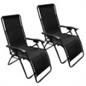 Deals List: Zero Gravity Chairs Case Of (2) Black Lounge Patio Chairs Outdoor Yard Beach