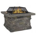 "Deals List: Elegant 29"" Outdoor Patio Firepit w/ Iron Fire Bowl, Stone Base, & Mesh Cover"