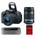 Deals List: Canon EOS Rebel T5i DSLR w/ 18-55 & 55-250 STM Lenses + Pro 100 Printer & Paper