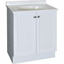 Deals List: Project Source White Integral Single Sink Bathroom Vanity with Cultured Marble Top (Common: 25-in x 19-in; Actual: 24.5-in x 18.5-in)