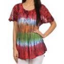 Deals List: Sakkas Dina Relaxed Fit Sequin Tie Dye Embroidery Cap Sleeves Blouse / Top