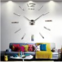 Deals List: Fashion Large DIY Wall Clock Home Decor 3D Mirrors Sticker Cool Big Timer Silver