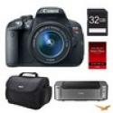 Deals List: Canon EOS T5i DSLR Camera 18-55mm Lens + 32GB Card + Printer + Bag Bundle