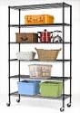 """Deals List: 82""""x48""""x18"""" 6 Tier Layer Shelf Adjustable Steel Wire Metal Shelving Rack with Wheels"""