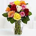 Deals List: Two Dozen Rainbow Valentines Roses with Elegant Ruby Vase
