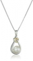 Deals List: Sterling Silver and 14k Yellow Gold Freshwater Cultured Pearl (8mm) and Diamond Heart Knot Pendant Necklace (.016 cttw, I-J Color, I2-I3 Clarity), 18""