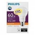 Deals List: Philips 60W Equivalent Soft White A19 LED Light Bulb (4-Pack)