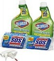 Deals List: Clorox Clean-Up Bleach Cleaner Spray and S.O.S All Surface Scrubber Sponge Value Pack, 32 OZ Bottles (2 Count) + Sponges(4 Count)