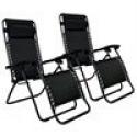 Deals List: Set of 2 Zero Gravity Outdoor Patio Chairs - Black