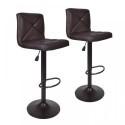 Deals List: Set of Two PU Leather Modern Adjustable Swivel Hydraulic Bar Stools (BT10, brown)