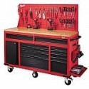 Deals List: Milwaukee 60 in. 11-Drawer and 1-Door 22 in. D Mobile Workbench with Adjustable-Height, Sliding Pegboard Back Wall, Red and Black