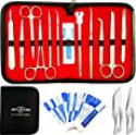 Deals List: 22 Pcs Advanced Dissection Kit For Anatomy & Biology Medical Students With Scalpel Knife Handle - 11 Blades - Case - Lab Veterinary Botany Stainless Steel Dissecting Tool Set For Frogs Animals etc