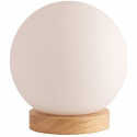 Deals List: Light Accents Table Lamp Natural Wooden Base with Round Glass Shade