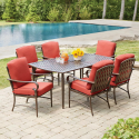 Deals List: Hampton Bay Statesville 5-Piece Padded Sling Patio Dining Set with 53 in. Glass Top