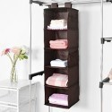 Deals List: MaidMAX Closet Hanging Shelf, MaidMAX 5-Shelf Collapsible Hanging Accessory Organizer with 2 Widen Velcros for Clothes and Shoes Storage for Gift, Brown