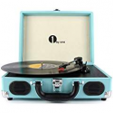 Deals List: 1byone Belt-Drive 3-Speed Stereo Turntable with Built in Speakers, Natural Wood