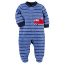 Deals List: 4 Baby Boy Carters Applique Striped One-Piece Footed Pajamas