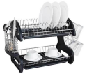Deals List: Home Basics NEW 2 Tier Black Dish Drainer Drying Rack Washing Organizer- DD10249