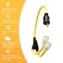 Deals List: Coleman Cable 01915 3-Feet Generator Power Cord Adapter, 10/3 Splitter Y Adapter, L5-30P to (2) Lighted 5-20R