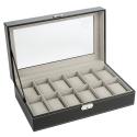 Deals List: Zeeshy 12- slot Watch Box Black Pu Leather Diaplay Case Organizer Glass Top with Key Lock