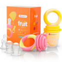 Deals List: NatureBond Baby Food Feeder / Fruit Feeder Pacifier (2 Pack) - Infant Teething Toy Teether in Appetite Stimulating Colors | BONUS Includes All Sizes Silicone Sacs