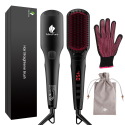 Deals List: MiroPure 2 in 1 Ionic Hair Straightener Brush with Heat Resistant Glove and Temperature Lock Function (Black)