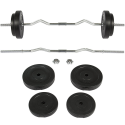 Deals List: Best Choice Products 55lb 1in EZ Curl Bar Barbell Weight Set w/ 2 Lock Clamp Collars, 4 Plates - Silver/Black