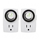 Deals List: Century 24-Hour Mechanical Outlet Timer 3 Prong; 2-Pack
