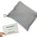 "Deals List: 8""x6"" Cast Iron Cleaner Chainmail Scrubber for Cast Iron Pan"