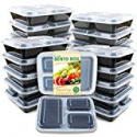 Deals List: Enther Meal Prep Containers [20 Pack] 3 Compartment with Lids, Food Storage Bento Box | BPA Free | Stackable | Reusable Lunch Boxes, Microwave/Dishwasher/Freezer Safe,Portion Control (36 oz)