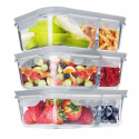 Deals List: Homgeek Glass Food Storage Containers 2 Compartment Meal Prep Containers Portion Control Lunch Box with Snap Locking Lids, Leak proof, Microwave, Oven, Freezer & Dishwasher Safe(3-Pack, 32 Oz)