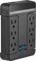 Deals List: Rocketfish - 6-Outlet/2-USB Swivel Wall Tap Surge Protector - Black, RF-HTS1615