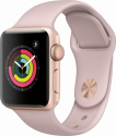 Deals List: Apple - Apple Watch Series 3 (GPS), 38mm Gold Aluminum Case with Pink Sand Sport Band - Gold Aluminum, MQKW2LL/A