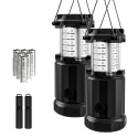 Deals List: Etekcity 2 Pack Portable LED Camping Lantern Flashlights with 6 AA Batteries - Survival Kit for Emergency, Hurricane, Outage (Black, Collapsible)