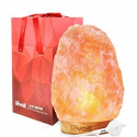 """Deals List: Levoit Athena Himalayan Salt Lamp Natural Himilian Hymalain Pink Salt Rock Lamps(11-15 lbs,8.5-11"""" Height) with Genuine Rubber Wood Base, Touch Dimmer Switch, 3 X 15 Watt Bulbs,UL Cord & Gift Box"""