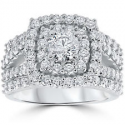 Deals List: 3 ct Diamond Engagement Wedding Double Cushion Halo Trio Ring Set 10k White Gold