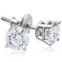 Deals List: E SI(2)-I(1) 1ct Diamond Screw Back Round Studs 14k White Gold Clarity Enhanced