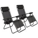Deals List: 2 Folding Zero Gravity Lounge Chairs+Utility Tray Outdoor Beach Patio US oshion