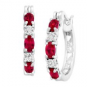 Deals List: 2 ct Created Ruby Hoop Earrings with Diamonds in Platinum-Plated Brass