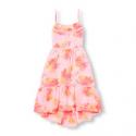 Deals List: Girls Sleeveless Floral Print Crochet Trim Hi-Low Dress
