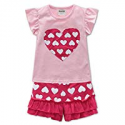 Deals List: Fiream Baby Girl Outfits Cotton Cute Short Sleeve Clothing Set